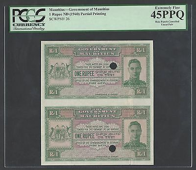 Mauritius Uncut Sheet 2 Notes One Rupee ND(1940) P26p Proof Extremely Fine