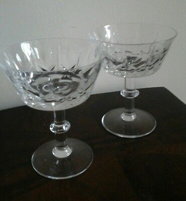 Vintage Pair Of Cut Crystal Saucer Shapped Champagne Glasses Hand Cut