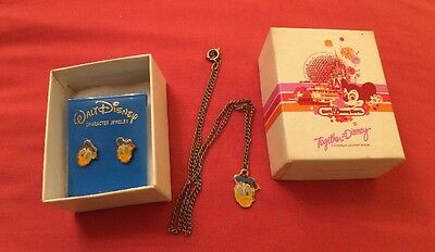 Vintage Disney Donald Duck Earrings And Necklace In Original Box. Free Postage.