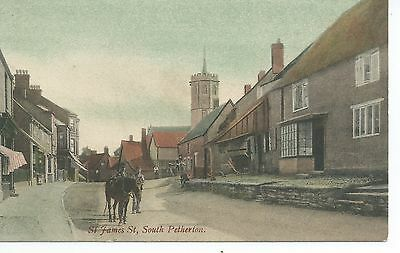 Printed postcard of St James street South Petherton Somerset in vgc