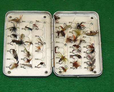 1930's Wheatley alloy English pocket fly fishing box & trout flies to use
