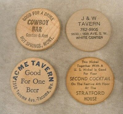 """4 Assorted Vintage Wooden Nickel """"Taverns and Bars"""""""