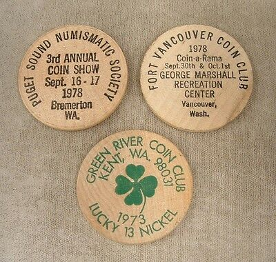 """3 Assorted Vintage Wooden Nickels  """"Washington Coin Clubs"""""""