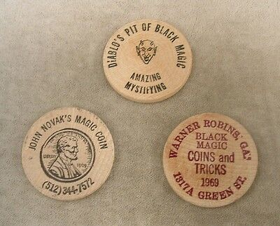 """3 Assorted Vintage Wooden Nickels  """"Magic and Novelty"""" grp.#2"""