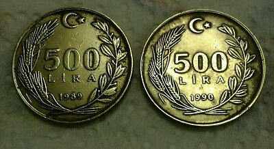 1990 and 1989 500 lira coin from Turkey