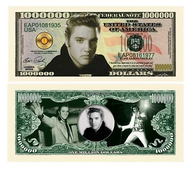 5 Elvis Presley Million Dollar Bill by www.AmericanArtClassics.com