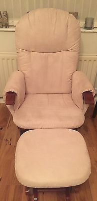 Tutti Bambini Walnut Deluxe Reclining Glider Nursing Feeding Chair & Stool