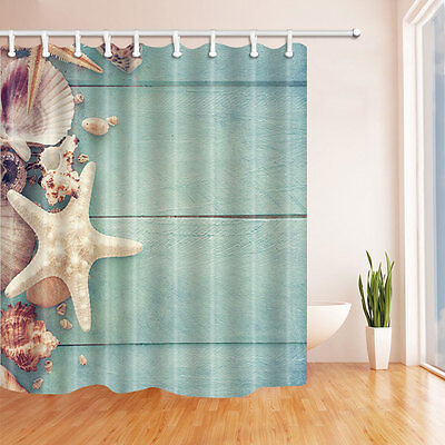 Wood and shells Waterproof Polyester-Fabric Shower Curtain & 12hooks