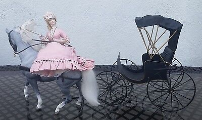 Dollhouse Miniature Artisan Cheryl Vilbert Doll with Horse & Carriage 1:12