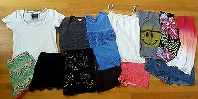 LOT of 13 Women's Size LARGE Tops, Dresses, Outfits Shorts (10/12) Name Brands