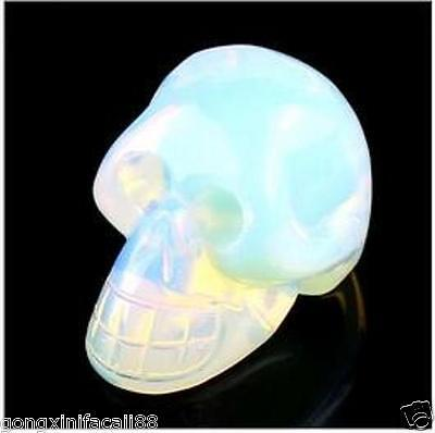 Moonstone Carved knds of stone skull head figurine Small statue