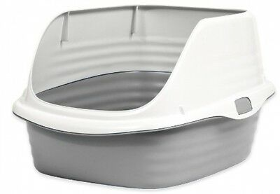 Petmate Rimmed Cat Litter Tray With Microban, Pearl White/Grey UK POST FREE