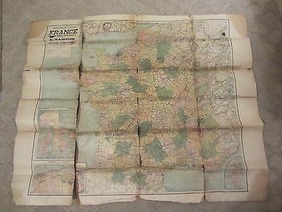 Original WWI Map of France 1918 Showing Locations Signed Pasquale Pesciarelli