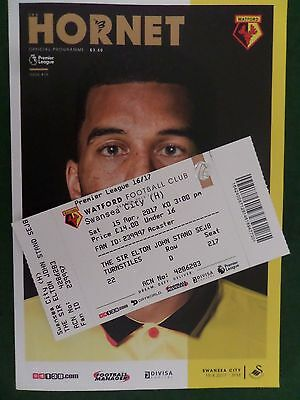 2016/17 (15 Apr) Watford v Swansea City programme, with Match Ticket, MINT