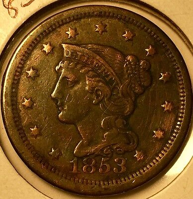 Beautiful 1853 1C BN Braided Hair Cent in XF condition