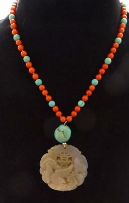 Beautiful Vintage Red Jasper, Turquoise & Carved Jade Pendant Necklace-14K Clasp