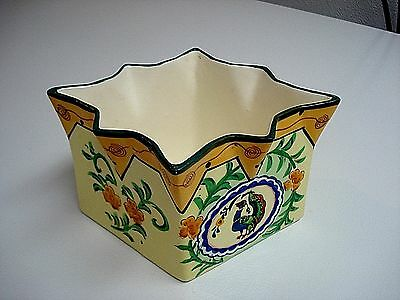 Vtg Made in Japan ART DECO POTTERY PLANTER Unusual Shape/Painted Peacock & RARE