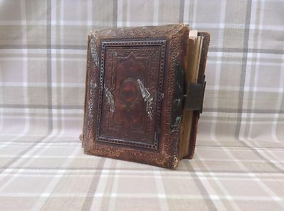 RARE Antique Victorian Leather Bound Photo Album With 41 Photos