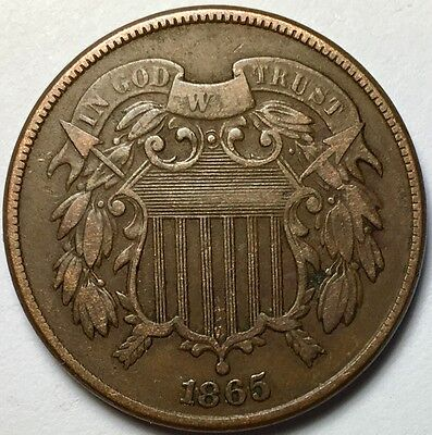 Beautiful 1865 2 Cent Piece in VF condition with Full WE