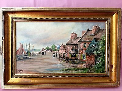 Antique  Oil Painting on Board - Signed A Geale - Landscape Old fishing Village