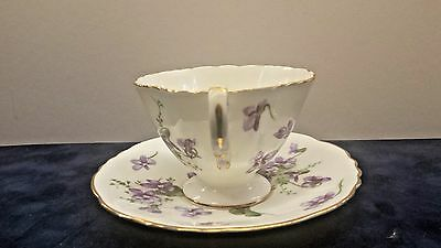 Vintage Footed Cup And Saucer Set Victorian Violets From Coutryside Hammersley