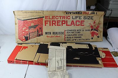 Vintage Electric Life Size Fireplace Christmas 1 No 1100 Toymaster
