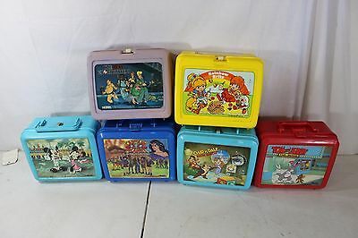 6 Plastic Aladdin Thermos Lunch Box Lot Rainbow Brite Captain Planet Tom Jerry