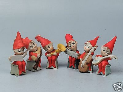 Set 6 Antique German Painted Bisque Christmas Elves Playing Instruments - VR