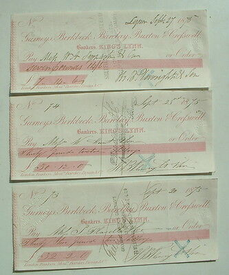 3 x VINTAGE USED VICTORIAN BRITISH BANK CHEQUES GURNEYS BIRBECK BARCLAY BUXTON