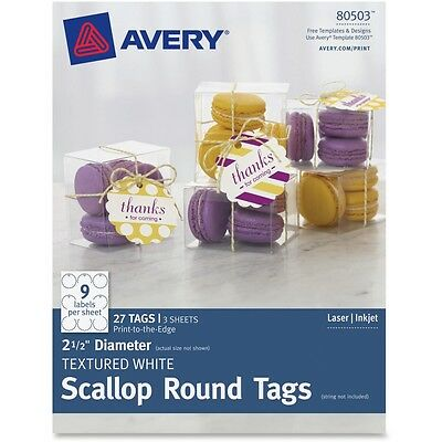 "Avery Textured White Scallop Round Tags 80503, 2-1/2"" Diameter, Pack of 27"