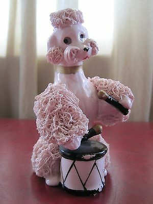 Vintage Pink Spaghetti Poodle Playing Drum Ceramic Figurine 5 Inch Very Cute!