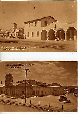 2 Vintage  Postcards  Custom House and Station Nogales Sonora, Mexico Ex. Cond.