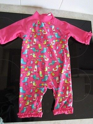 Mini Club at Boots-worn once-UFP40 swimming costume -pink bright birds- 9-12mths