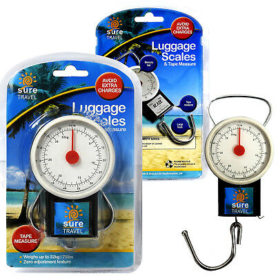 Sure Travel Portable Suitcase Luggage Case Weighing Hook-on Scales, Up to 32kg