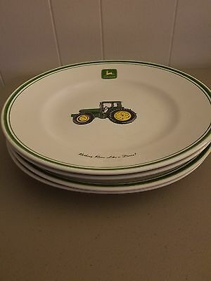 "SET of 4  LICENSED ""JOHN DEERE TRACTOR "" 11 1/4"" WHITE DINNER PLATES  GIBSON"