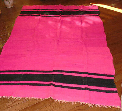 Vintage  Homespun Red(Pink) Blanket Black Stripe Hudson Bay Style  92 x 68 inch.