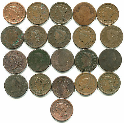 Copper Large Cent Coin Collection Lot of 21 - 1795 1803 1805 Cap and Draped Bust