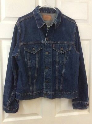 1960's Levi Capital E Blue Denim Jacket Men's Size 44 Made In Usa