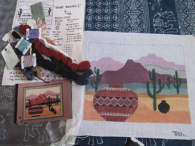 Handpainted Needlepoint Canvas Tish Pottery Mountain I  Southwestern +Thread