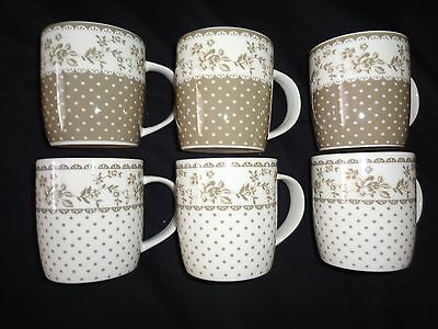 Set of 6 Vintage, Light Brown Floral Design with Spots Tea/Coffee Mugs