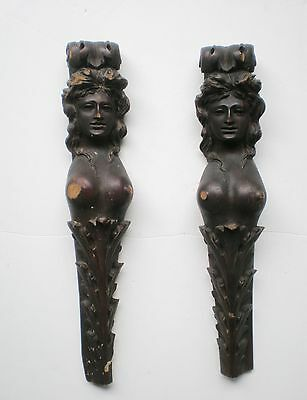 ANTIQUE ARCHITECTURAL WOOD CARVED NUDE WOMAN SALVAGE sculpture art primitive