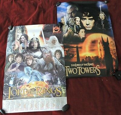 """Lot Of Two / Lord Of The Rings / Calendar Posters From 2003  - 16"""" X 24"""" / Rare"""