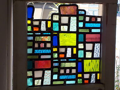 Stained glass leadlight in rustic shabby window frame URBAN ABSTRACT
