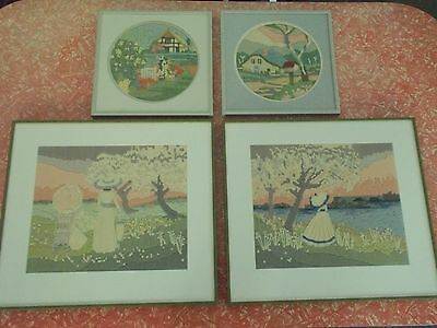 Vintage framed needlepoint pictures (4 pieces)
