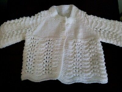 Gorgeous New  fancy Hand Knitted  White baby Cardigan approx 3 months