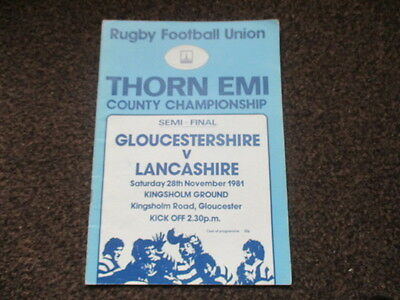 Gloucestershire v Lancashire 1981 County Championship semi-final RUGBY PROGRAMME