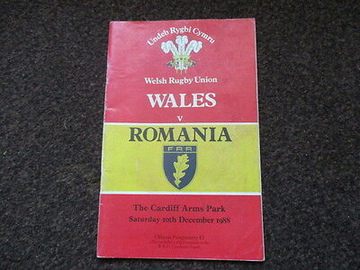 Wales v Rumania  10 Dec 1988- Cardiff Arms Park Rugby Union Programme
