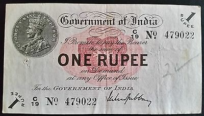 British India Banknote 1 Rupee Gubbay 1917 King George V Circulated Very Fine