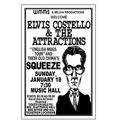 Elvis Costello 1981 Cleveland Concert Poster