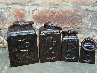 Vintage Cast Iron Scale Balance Weights With Ring Handles Set Of Six